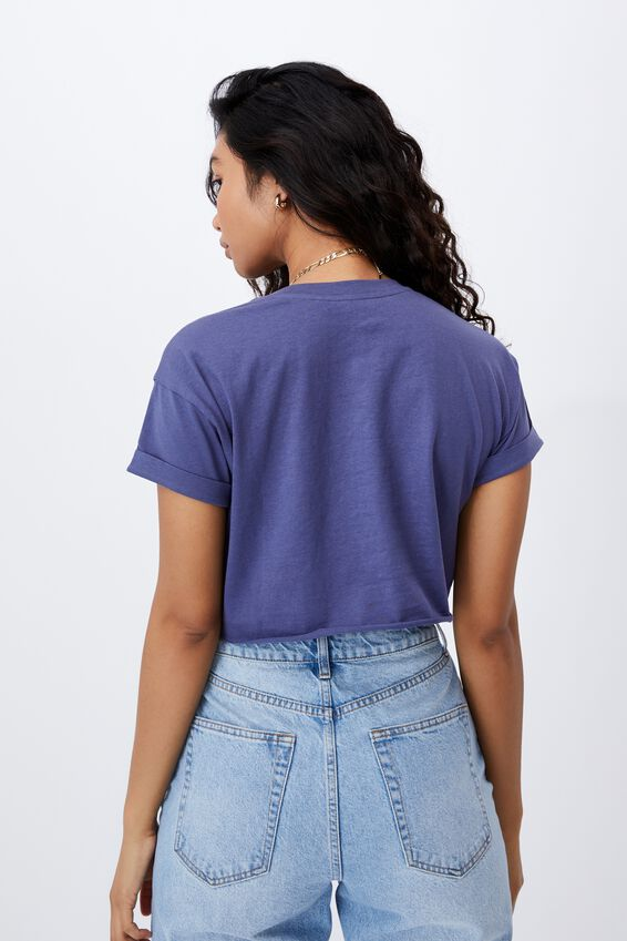 Tamara Printed Crop T Shirt, POLO BLUE/SUNFLOWERS