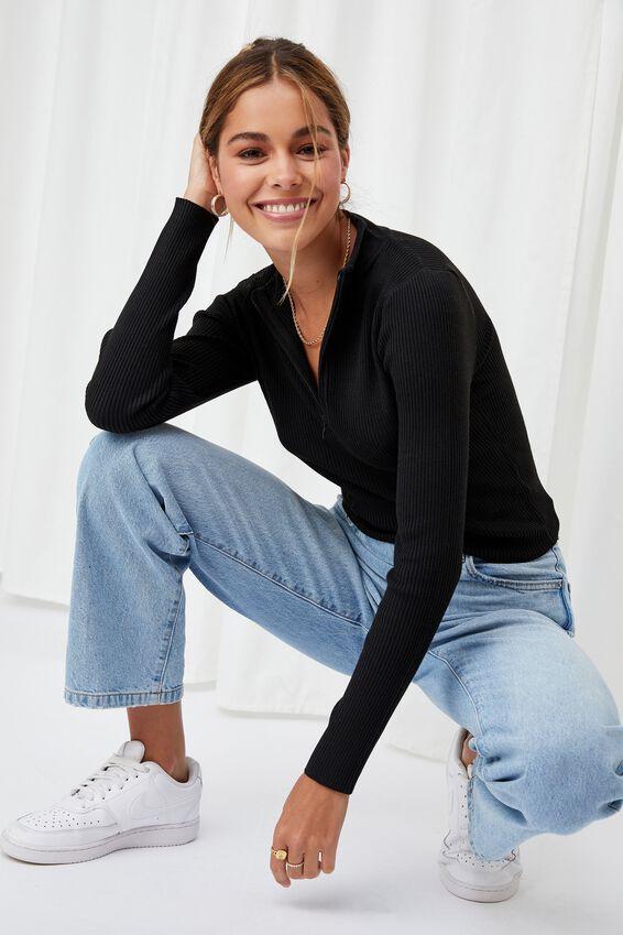 Nancy Quarter Zip Knit Top, BLACK