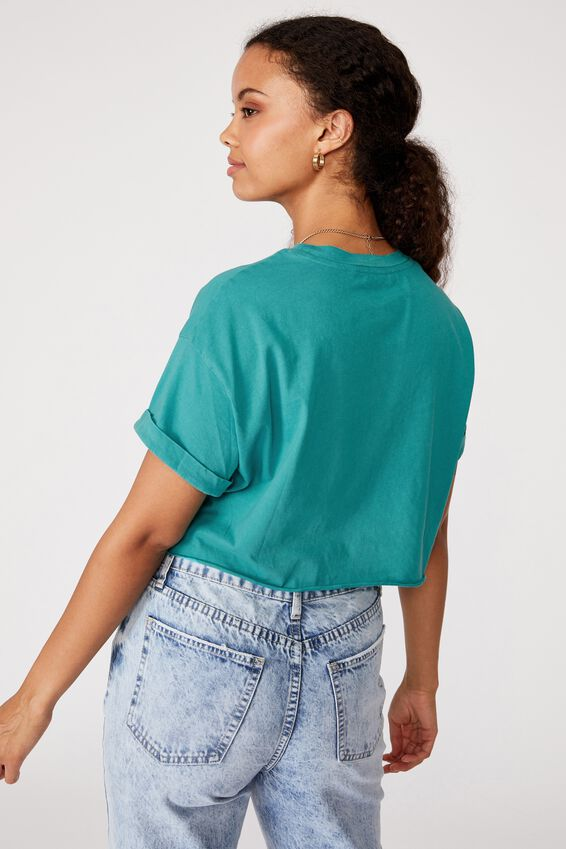 Tamara Printed Crop T Shirt, VINTAGE WASH WASHED JADE/MALIBU