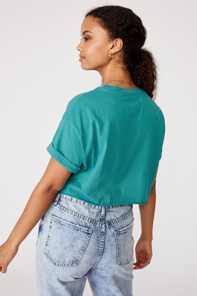 Tamara Printed Crop T Shirt, VINTAGE WASH WASHED JADE/MALIBU