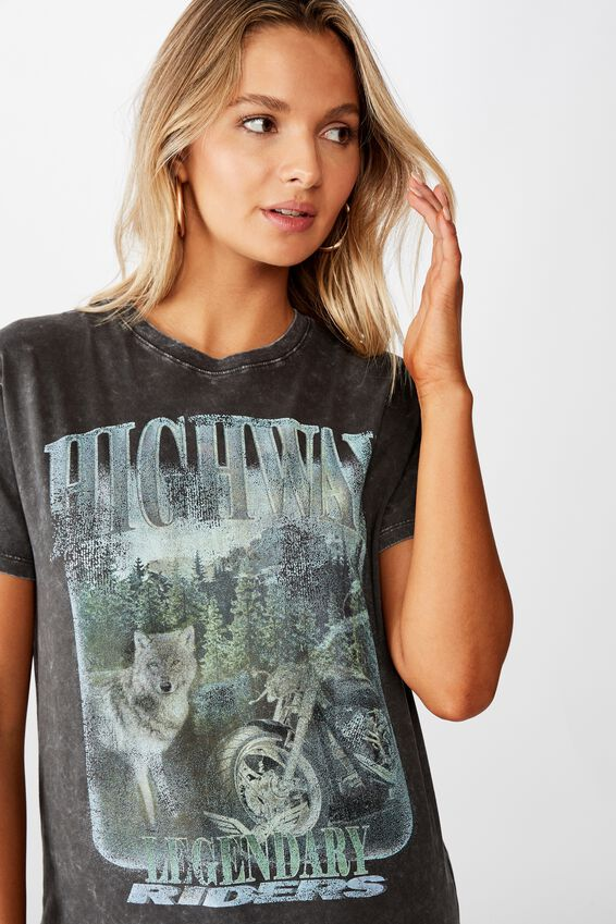 Highway Wolf Tee, WASHED PHANTOM/HIGHWAY WOLF
