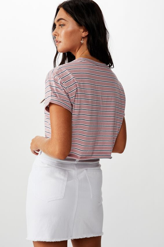 New York Crop Tee, DOUBLE STRIPE NY SIMPLE FLAG