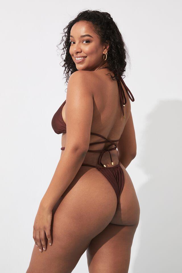 Sammy Tri Slide Bikini Top, COCOA BUTTER