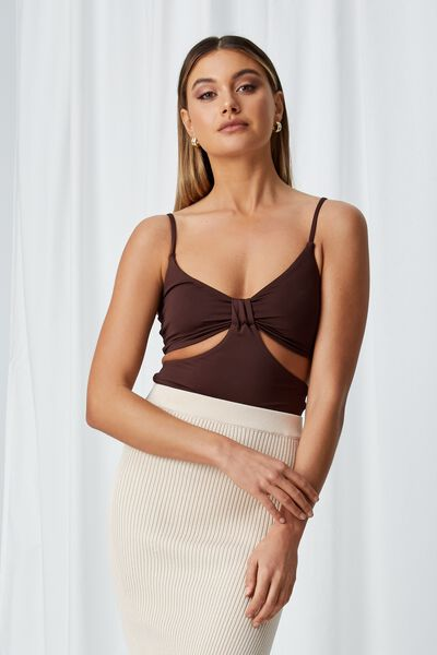 Summer Cut Out Knot Top, CHOCOLATE