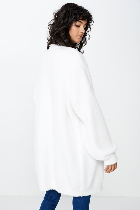 Fluffy Longline Cardigan, WINTER WHITE