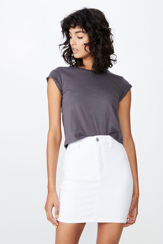 Chloe Stretch Denim Mini Skirt, WHITE