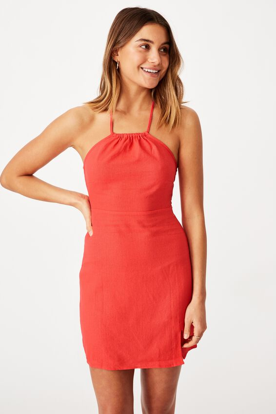 Lana Halter Neck Slip Dress, HIBISCUS RED