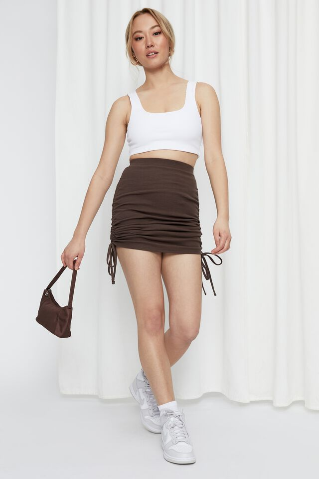 Paola Ruched Drawcord Skirt, CREAMY MOCHA