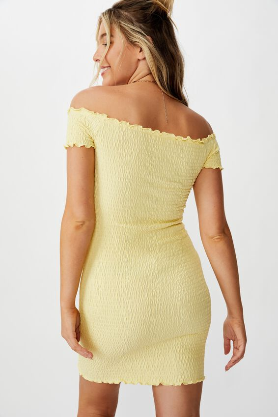 Kristy Shirred Off Shoulder Dress, DAISY YELLOW
