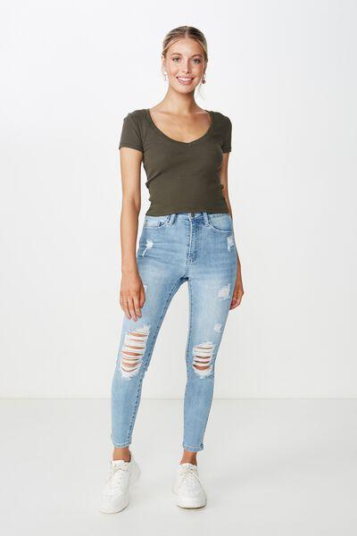 Short Skinny Premium Ripped Jean, VINTAGE BLUE