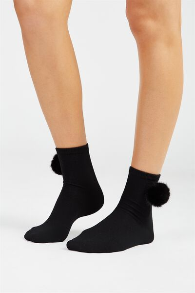 Faux Fur Pom Pom Socks, BLACK
