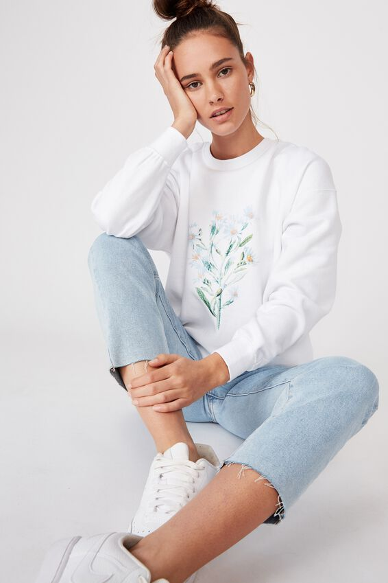 Oversized Crew Neck Jumper, WHITE/DAISY BUNCH