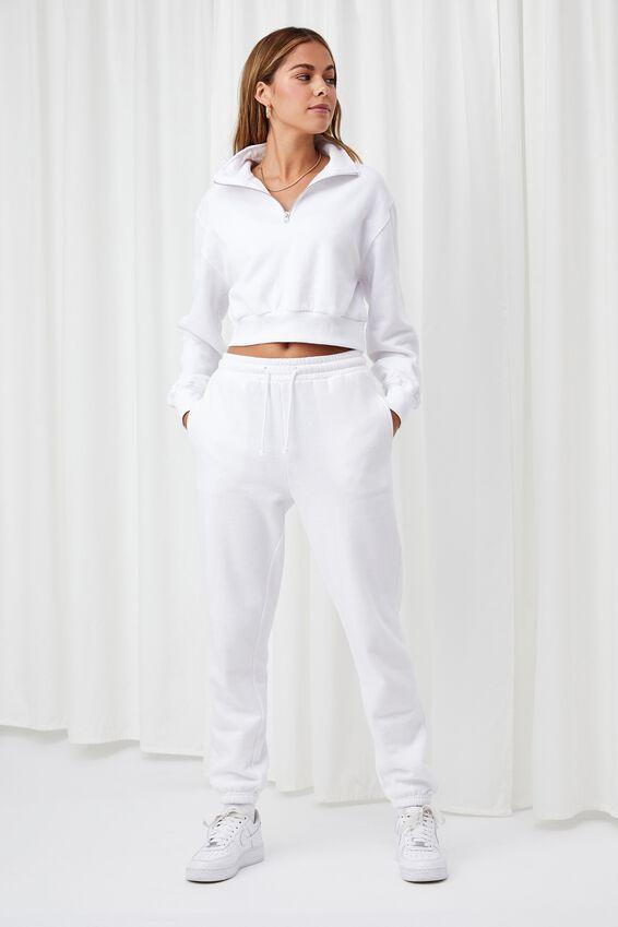 Edith Quarter Zip Crop Sweat, WHITE