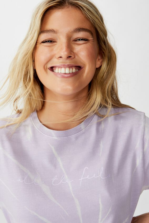 Lola Printed Longline Tee, LILAC BODY BLEACH/ALL THE FEELS