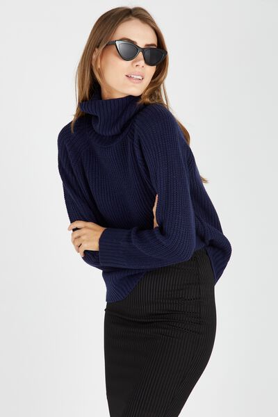 Mili Mid Length Roll Neck Knit Sweater, NAVY