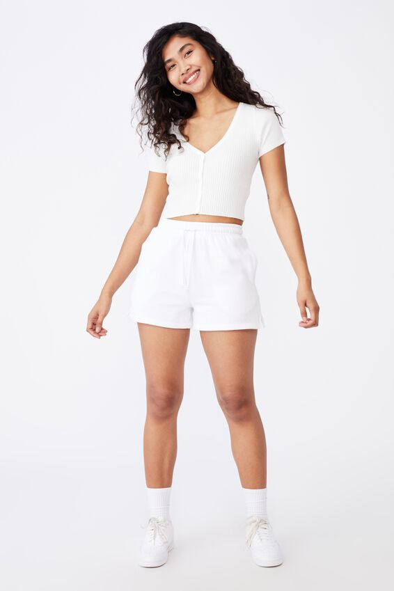 Liv Short Sleeve Button Through, WHITE