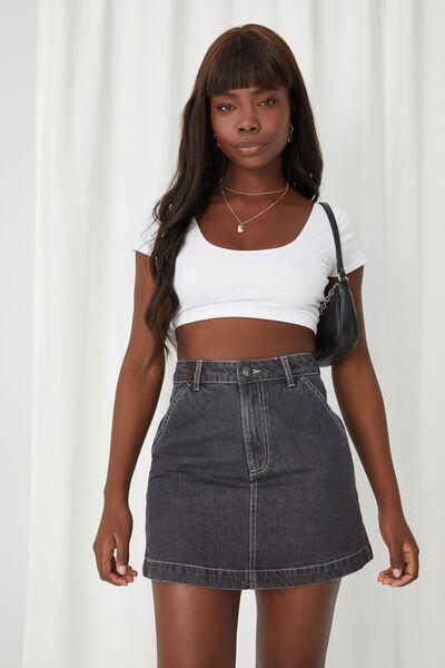Carpenter Denim Skirt, WASHED BLACK