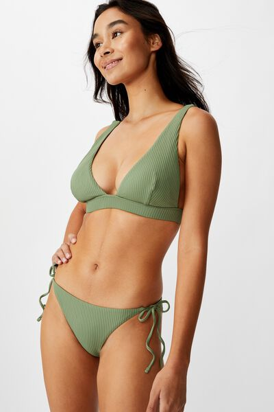 Bells Tie Side Bikini Bottom, SUMMER KHAKI RIB