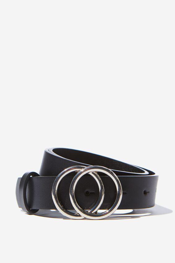 Double Hoop Belt, BLACK/SILVER