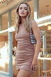 Tina Ruched Mini Dress, CARAMEL