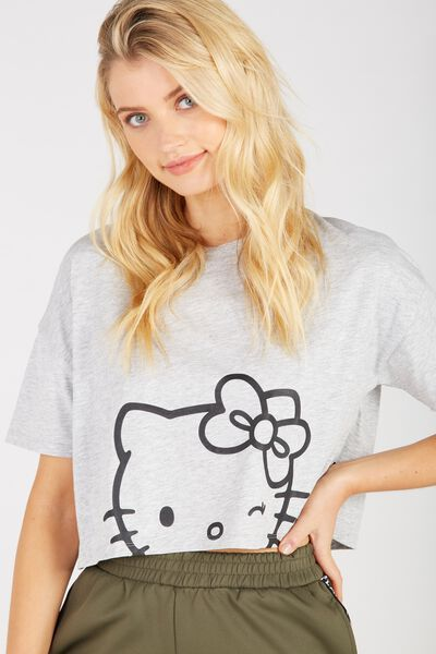 License Hello Kitty Print Loose Crop Tee, GREY MARLE/HELLO KITTY