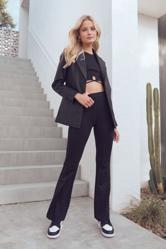Carrie Stretch Flare Pant, BLACK