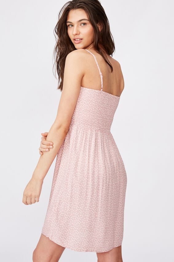 Peaches Shirred Dress, PINK MINI DITSY