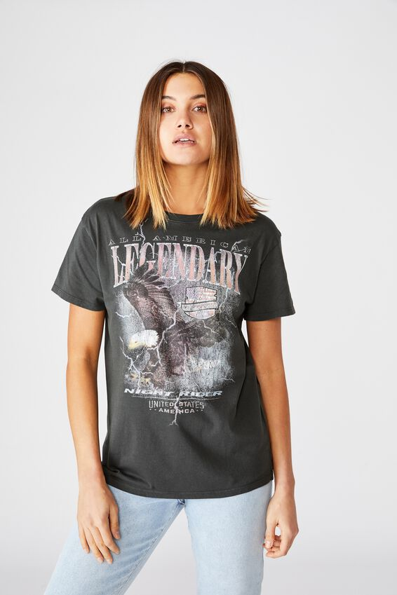 Lola Printed Longline T Shirt, WASHED PHANTOM/LEGENDARY EAGLE