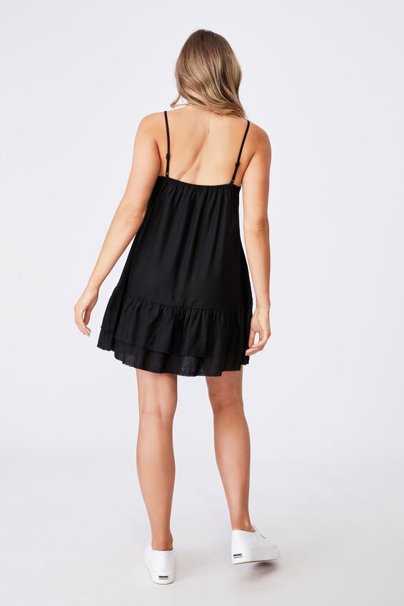 Harper Strappy Tiered Dress, BLACK