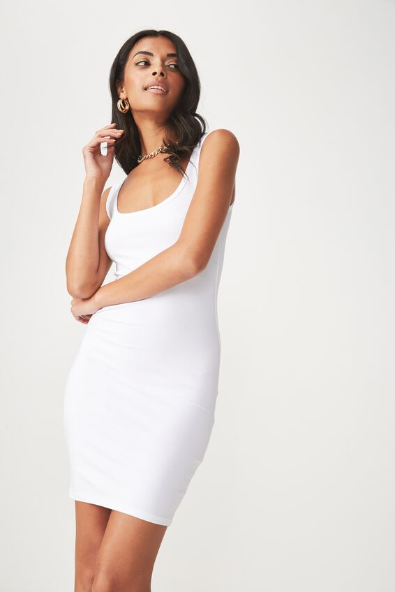 Basic Thick Strap Tank Dress, WHITE