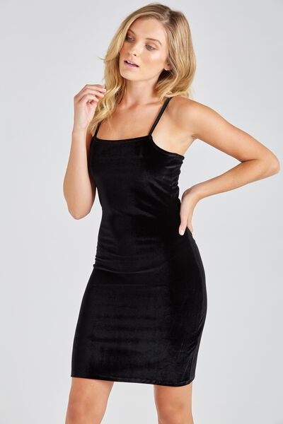 Velour Square Neck Cami Dress, BLACK