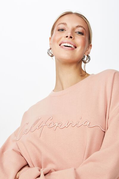 Lara Long Sleeve Sweat, VINTAGE PINK/CALI