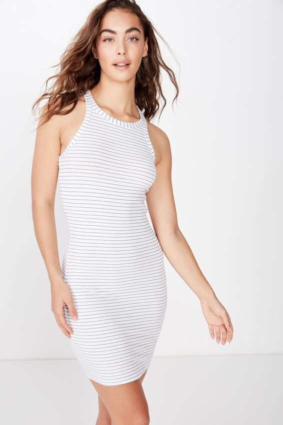 Reese Tank Rib Mini Dress, TERI STRIPE (WHT/STORM BLUE)
