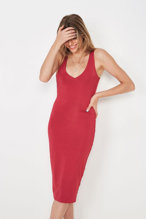 Party Shiny V Neck Dress, SUMMER BERRY