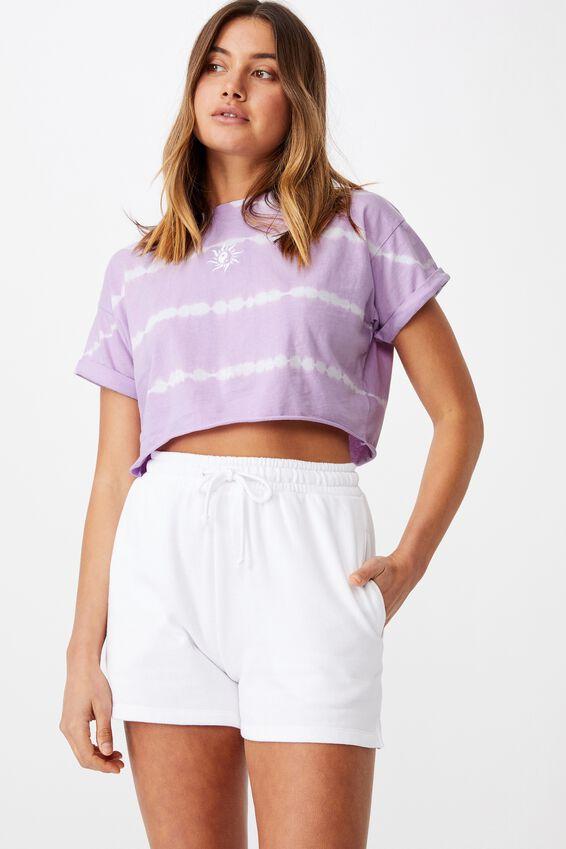 Tamara Printed Crop T Shirt, ORCHID BLOOM TIE DYE/YIN YANG SUN