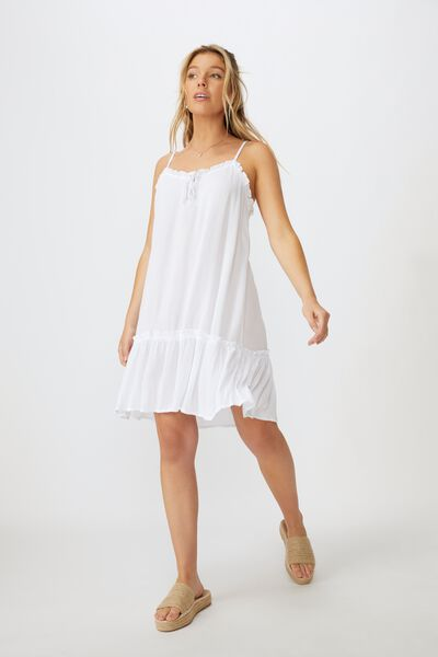 Olivia Tiered Frill Hem Dress, WHITE
