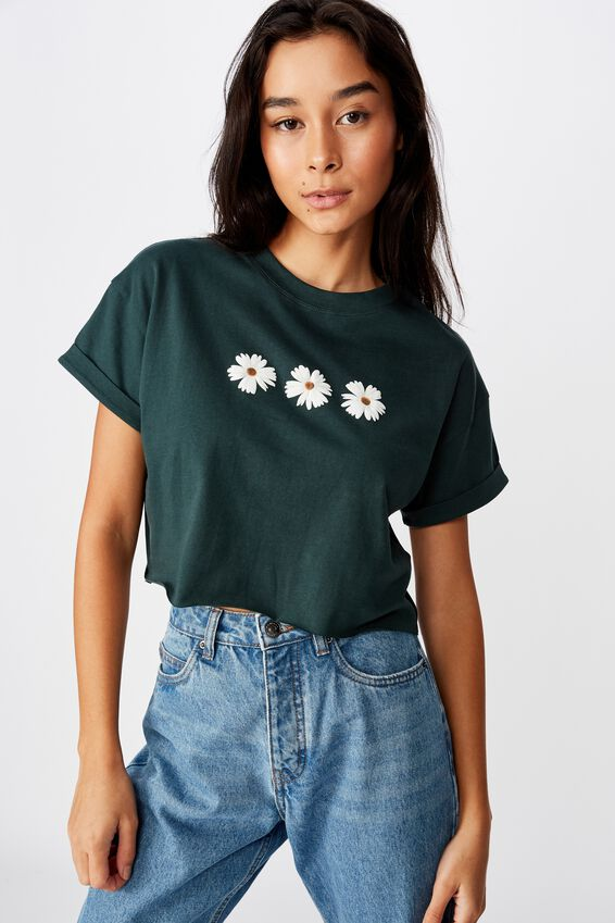 Tamara Graphic Crop Tee, FOREST GREEN/TRIPLE DAISY