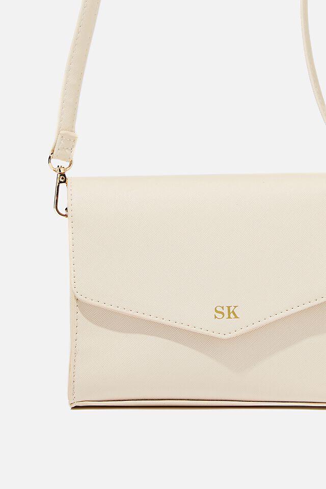 Personalised Sia Envelope Cross Body Bag, SANDSTONE TEXTURE