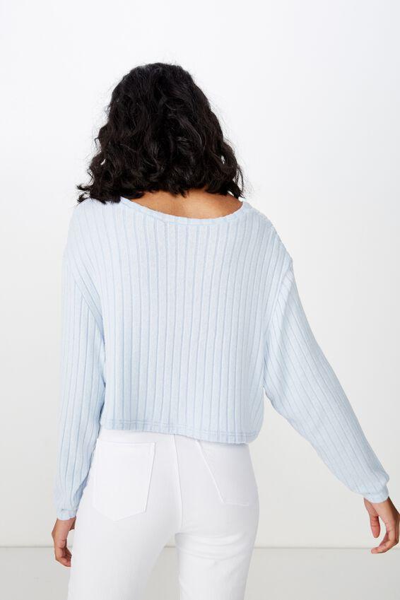 Priya Long Sleeve Rib Top, ICE BLUE