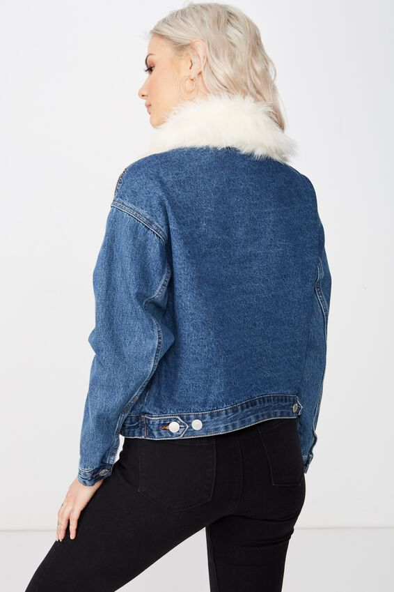 Faux Fur Collar Denim Jacket, INDIGO BLUE