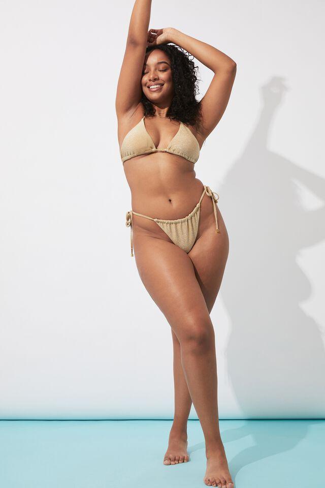 Sammy Lurex Tri Slide Bikini Top, METALLIC GOLD