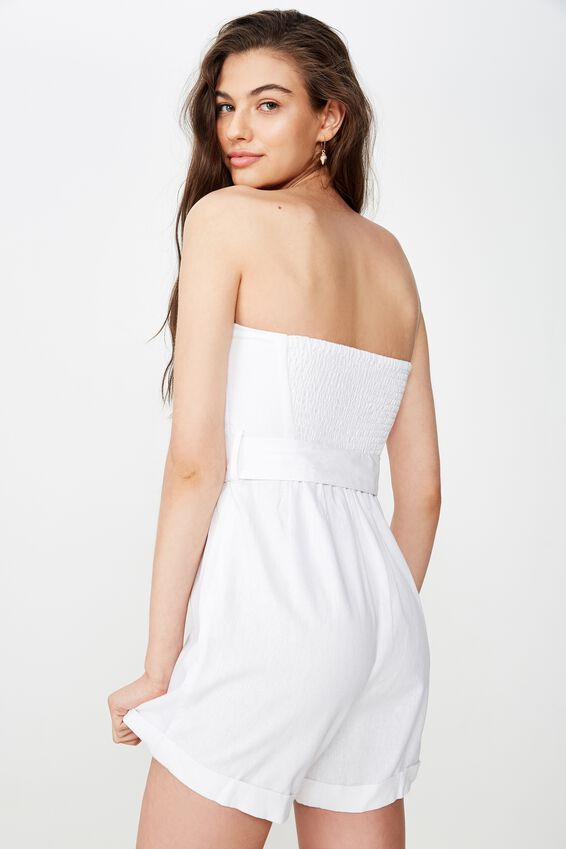 Nadia Belted Playsuit, WHITE