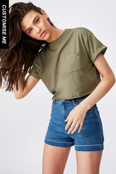 Customised Ciara Crop Tee, DUSK KHAKI