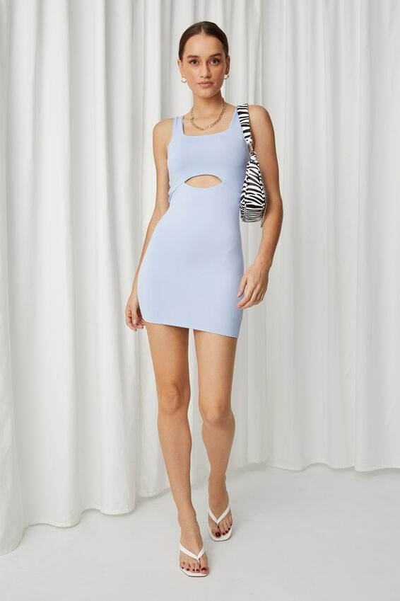 Chrissy Cutout Mini Dress, AURA BLUE