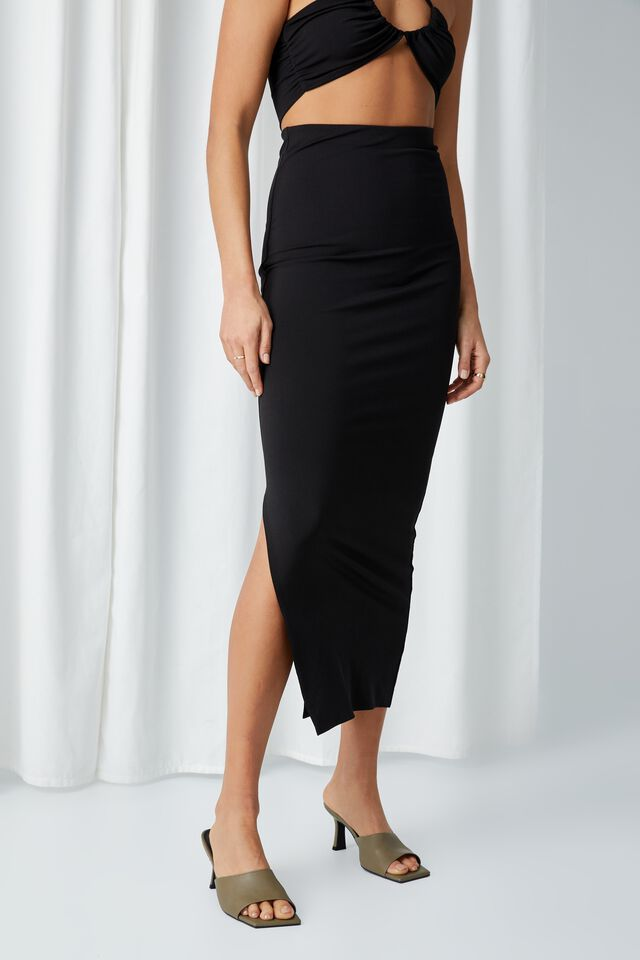 Opal Luxe Maxi Skirt Co Ord, BLACK