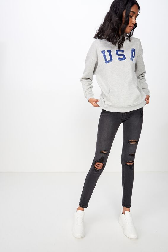 Katy Slouch Sweat, GREY MARLE/USA