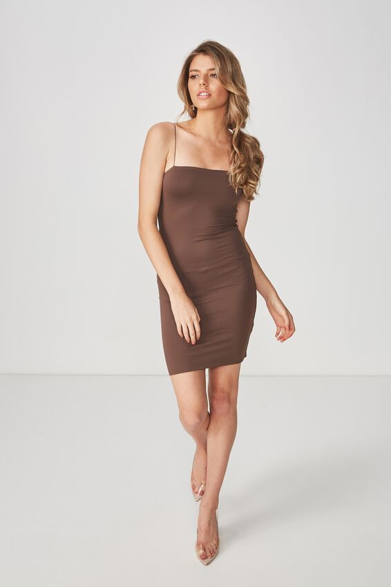 Party Elastic Strap Dress, CHOCOLATE