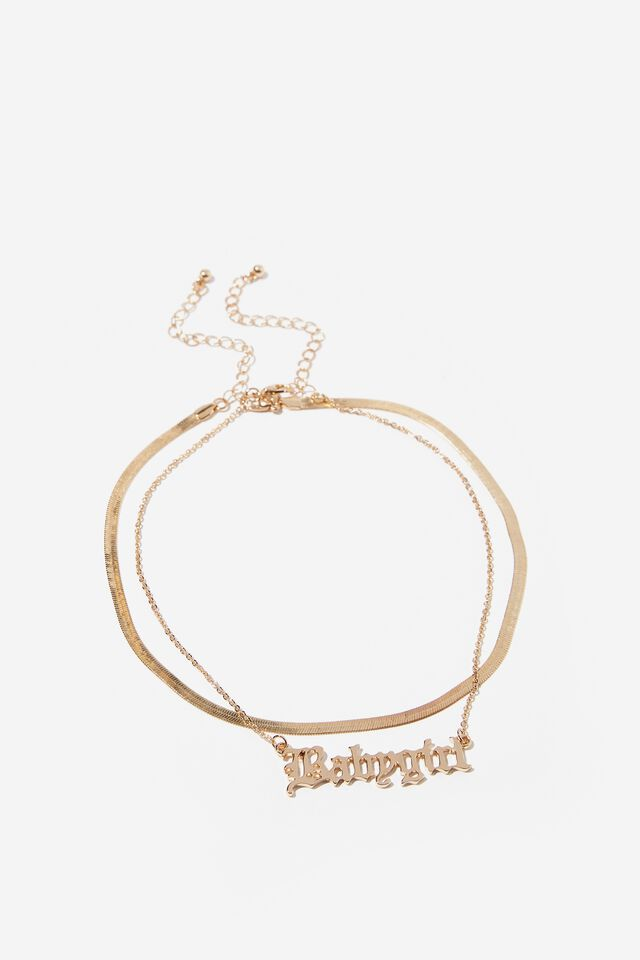 Babygirl Flat Chain Necklace, GOLD