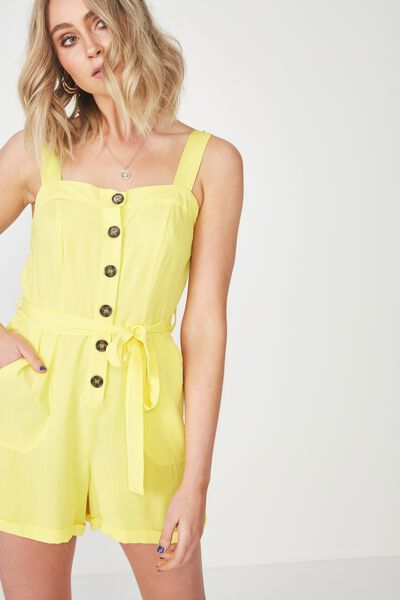 Belted Button Up Playsuit, YELLOW