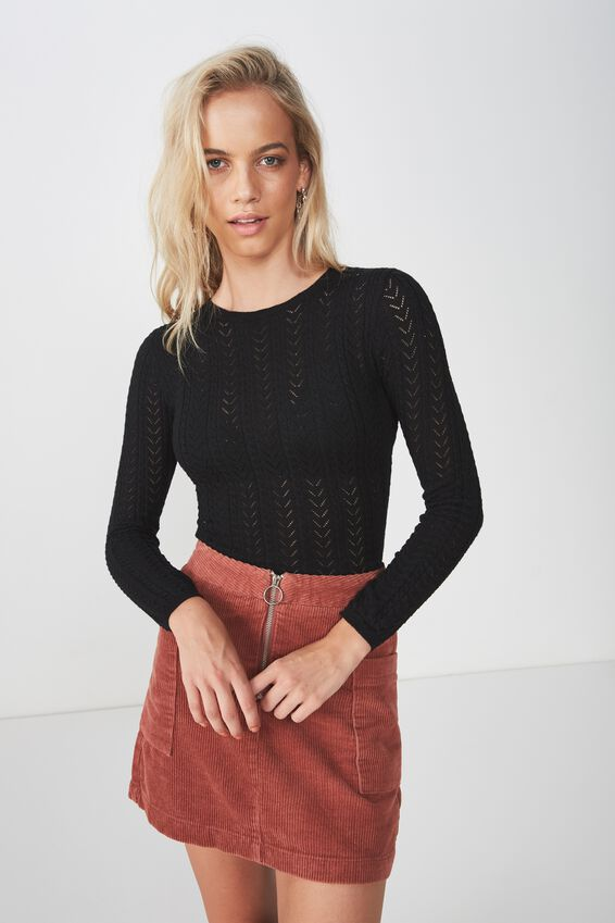 Mila Long Sleeve Pointelle Knit, BLACK